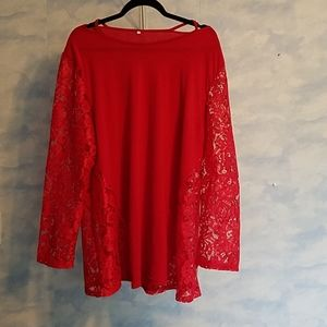 Long lace sleeved red top